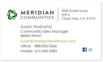 Meridian business card front